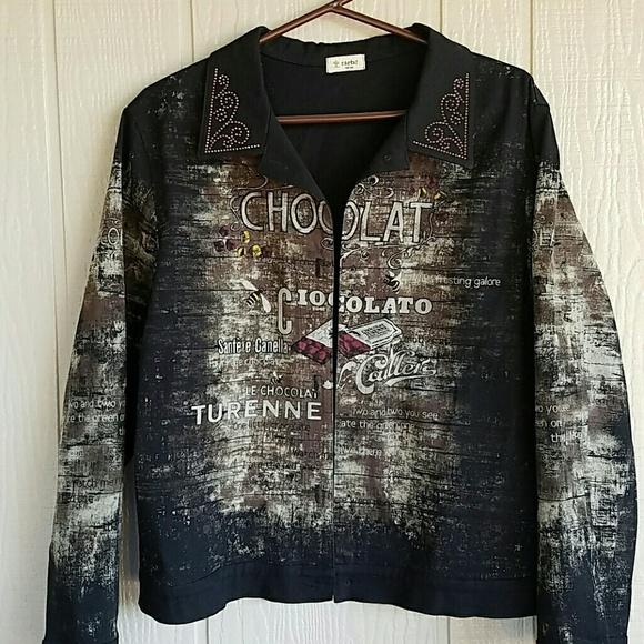 Cactus Jackets Coats Artsy Denim Jacket Chocolate Bling Poshmark